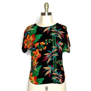 VINTAGE 80s {Sharon Anthony} Tropical Gauze Top M